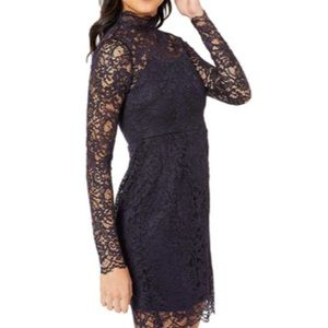 NWT Betsey Johnson Mock Neck Lace Dress (Navy)